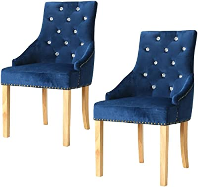 Festnight Sillas de 2 Sillas de Comedor,Roble Macizo y Terciopelo,52x58x96cm,Azul