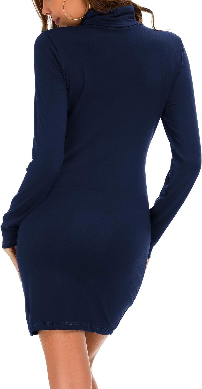EXCHIC Women's Knit Cardigan Open Front Sweater Coat Long Sleeve Navy Blau