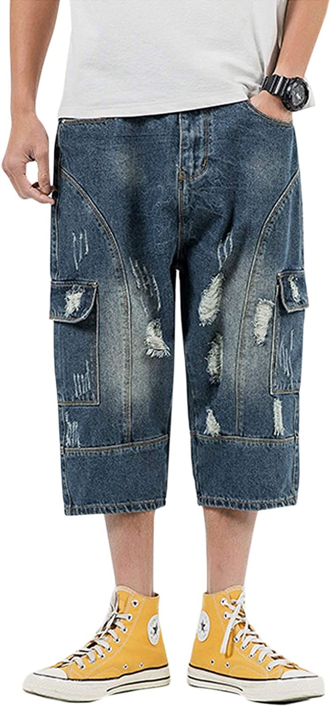 Flygo Men's Loose-Fit Ripped Harem Capri Jeans Baggy Calf-Length Denim Cargo Shorts