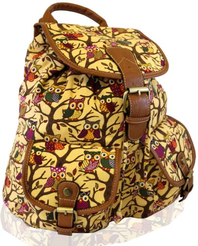 kukubird Eulen Twin Tasche Rucksack/Rucksack/Schultasche (Eule beige)