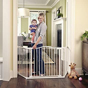 """Toddleroo by North States 72"""" wide Deluxe Décor Gate: Perfect safety solution for extra wide spaces with added one hand functionality. Hardware Mount. Fits 38.3 - 72"""" wide. (30"""" tall, Soft White)"""