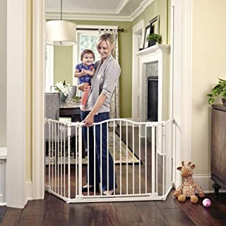 "Toddleroo by North States 72"" wide Deluxe Décor Gate: Perfect safety solution for extra wide spaces with added one hand functionality.  Hardware Mount. Fits 38.3 - 72"" wide. (30"" tall, Soft White)"