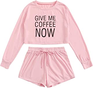 Shein Women's Letter Print Long Sleeve Crop Tee Elastic Waist Shorts Pajama Set