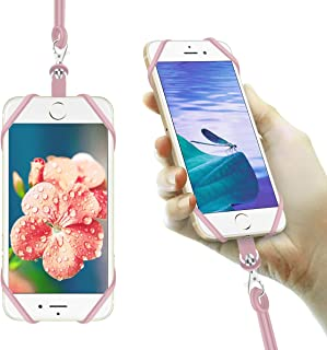 MS ZHAN Cell Phone Lanyard Neck Strap Silicone Retractable Phone Lanyard Compatible with All Smartphones Neck Cell Phone Holder with Ring (Pink)