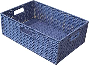 YAYADU Storage Basket Rattan Fruit Baskets Rectangle Toy Clothes Finishing Box Kitchen Bedroom Livingroom, 5 Colors (Color...