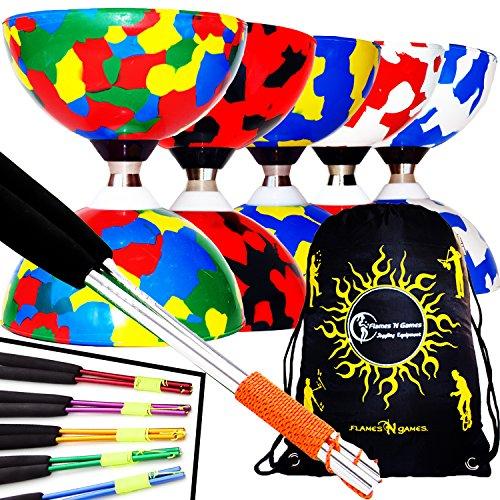 Juggle Dream Jester Diabolo con Rodamiente de Bolas Pro Conjunto + Palos de Aluminio, Cuerda & Diabolos Bolsa de Viajo (Rojo/Negro + Palos Plata)