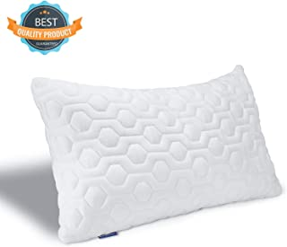 BESORY Bed Pillow for Sleeping – Shredded Memory Foam Pillow with Cooling Bamboo Cover – Adjustable Loft, Queen Size