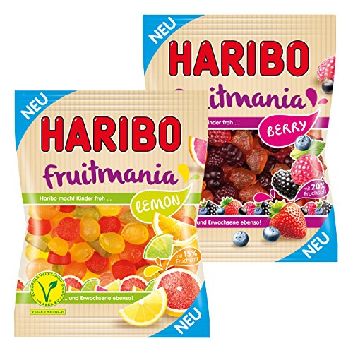 Haribo Fruitmania 2er Set, Lemon, Berry, mit Fruchtsaft, Gummibärchen, Weingummi, Fruchtgummi, im Beutel