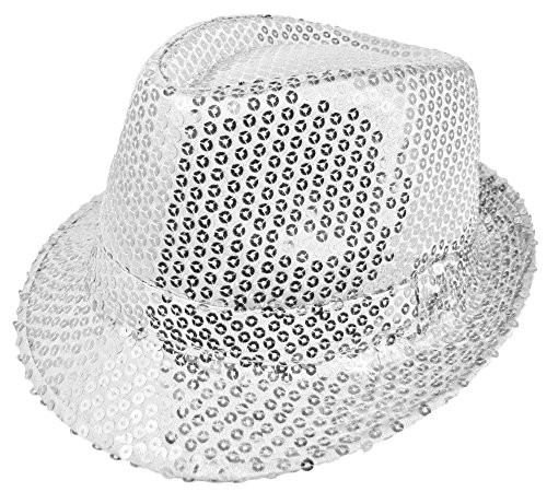 Das Kostümland Glitzernder Popstar Hut mit Pailletten - Silber - Partyhut zum Show, Disco und Faschingskostüm
