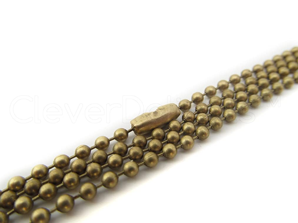CleverDelights 20 Ball Chain Necklaces - Antique Bronze Color - 24 Inch - Jewelry Findings - 2.4mm Ball - Adjustable Antiqued Necklaces - 24