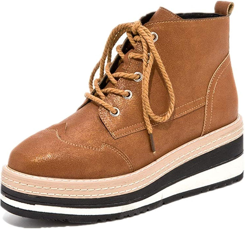 Gaslinyuan Frauen Plattform schnüren Sich Zipper Ankle Stiefel (Farbe   Braun, Größe   EU 37)  | Überlegen  | Ausgewählte Materialien  | Bekannt für seine schöne Qualität