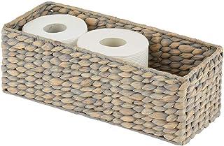 mDesign panier façon osier – corbeille tressée en jacinthe d'eau naturelle – accessoire de rangement idéal pour la salle d...