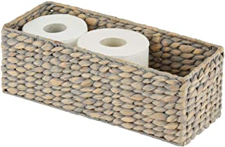 mDesign Natural Woven Water Hyacinth Bathroom Toliet Roll Holder Storage Organizer Basket Bin; Use in Bathroom, Toilet Tanks - Holds 3 Rolls of Toilet Paper - Gray