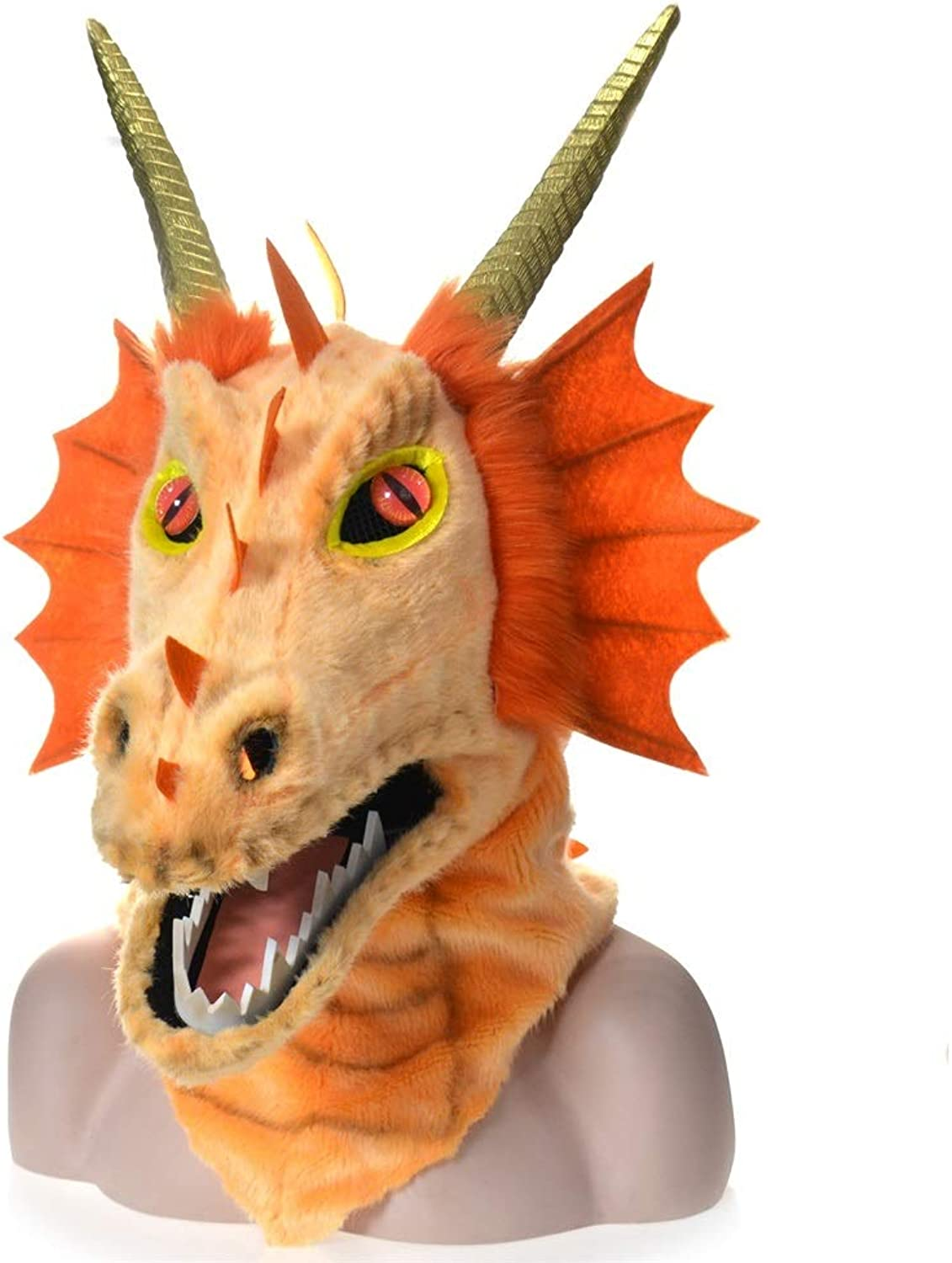 Meipa Time Costume da autonevale di Htuttioween for Animali Cosplay Party Dragon Dragon Head Moving Mouth Animal Mask Party ( Coloree   arancia )