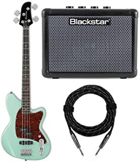 Ibanez TMB100 Talman Electric Bass Guitar (Mint Green) with FLY 3 Bass and Knox Guitar Cable Bundle (3 Items)