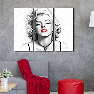 Marilyn Monroe Wall Art Contemporary Canvas Print Sexy Red Lips Painting Black and White Modern Wall Decorative Fashion Pictures Framed 3 Pieces Ready to Hang for Living Room Home Decoration 28x36inch