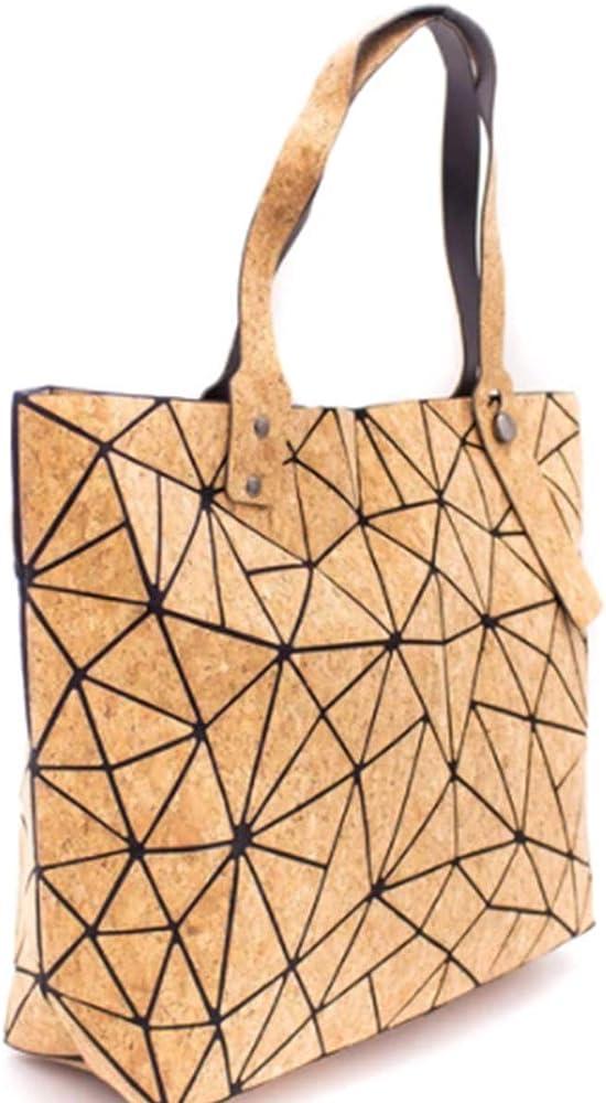 Only50, borsa a mano geometrica,  shopper in sughero naturale da donna,  borsa ecologica effetto legno.