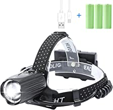 Lylting Headlamps for Adults, 10000 Lumens Rechargeable LED Headlamp with Batteries Included, Zoomable, 3 Modes, Waterproo...