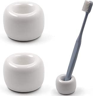 Airmoon Mini Ceramics Handmade Couple Toothbrush Holder Stand for Bathroom Vanity Countertops, White, Pack of 2