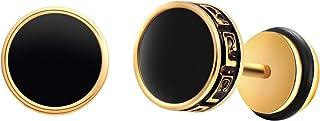8MM Round Stud Earrings Enamel Circle Stud Earrings for Men Women Stainless Steel Cheater Fake Ear Plugs Gauges