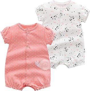 2 Paquetes Bebé Manga Corta Mameluco EI Verano Niñas Body Mono Pijamas de Algodón para Niños