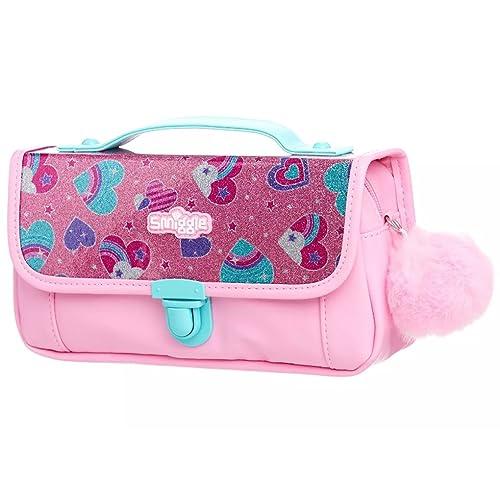 Smiggle Handbag Pencil Case with Fluffy Pom Pom Charm - Sparkle Pink Hearts 0372590b8e027