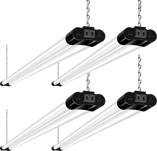 Hykolity Linkable LED Shop Light For Garage 4FT 36W Utility Light Fixture For Workshop Basement 5000K Daylight LED Workbench Light With Plug 250W Equivalent Hanging Or Surface Mount Black 4 Pack