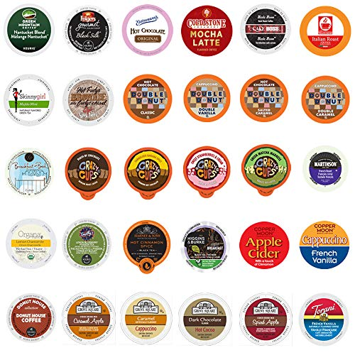 Coffee, Tea, Cappuccino and Hot Chocolate Variety Sampler Pack for Keurig K-Cup Brewers, 30 Count (All unique cups, no duplicates)
