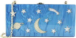 LIMING Acrylic Star Moon Pattern Square Banquet Evening Bag Daily Golden Chain Shoulder Crossbody Handbag Wedding Xi Niang...