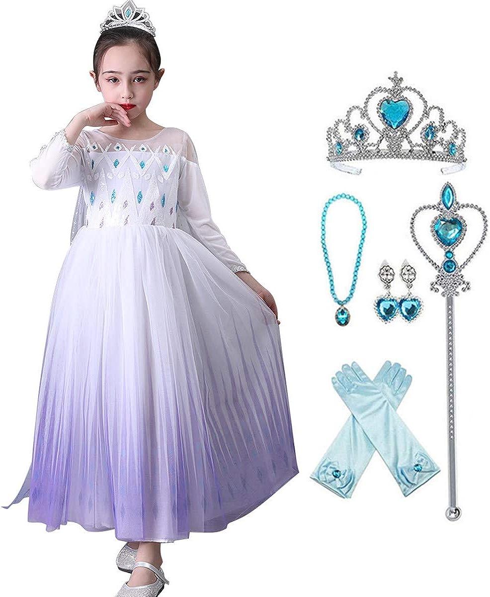 HUA ANGEL Girls Snow Princess Dresses Costumes Birthday Party Halloween Costume Cosplay Dress up