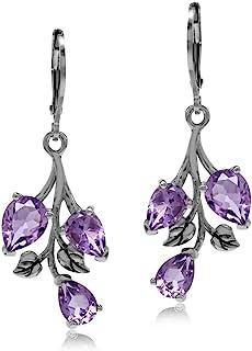 Silvershake 4.66ct. Genuine Amethyst 925 Sterling Silver Leaf Leverback Dangle Earrings