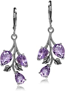 4.66ct. Natural Amethyst 925 Sterling Silver Leaf Leverback Dangle Earrings