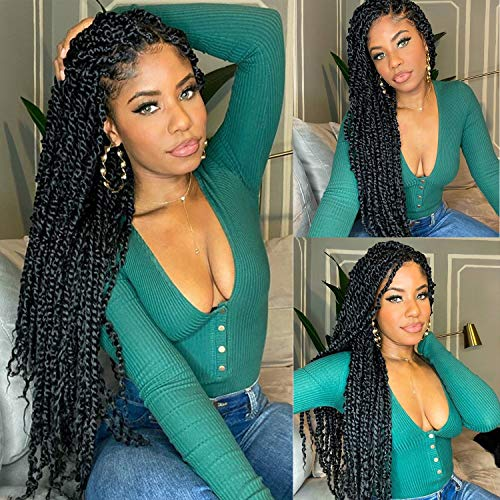 6 Packs Pre-twisted Passion Twist Hair 24 inch Passion Twist Crochet Hair Pre Looped 16 Roots Bohemian Braids For Passion Twist Synthetic Braiding Hair Extensions (24 Inch, 1B#)
