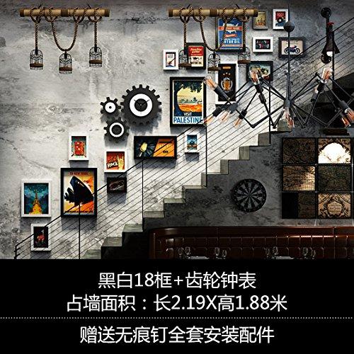 Unbekannt Industrielle Peintures escalier murale Galerie Art Cafe – Style Film de la peinture murale de la peinture murale Champ 18 Black et White Box + transmission Montres