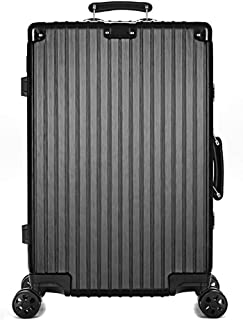 Suitcase, Trolley Case Large Capacity Aluminum Alloy Corner Hard Shell Universal Wheel Boarding Case Password Shipping Box Luggage,Black,24inches