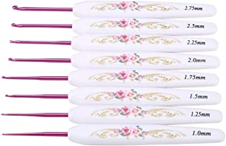 Akozon Hooks 8PCS Aluminum Crochet Hook Set Knitting Needles with Soft Floral Print Plastic Handle(Small)