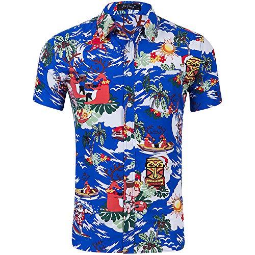 YCJ Camicia da Uomo Flamingo Poliestere Stampa in Poliestere a Maniche Corte Sale Summer Switch Shirt Shirt Pulsante Cardigan Top Short Sleeve/H/S