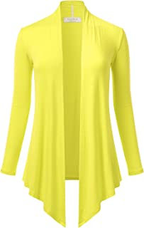 Women's Open Front Drape Hem Lightweight Long Sleeve Knit Cardigan (S-3XL)
