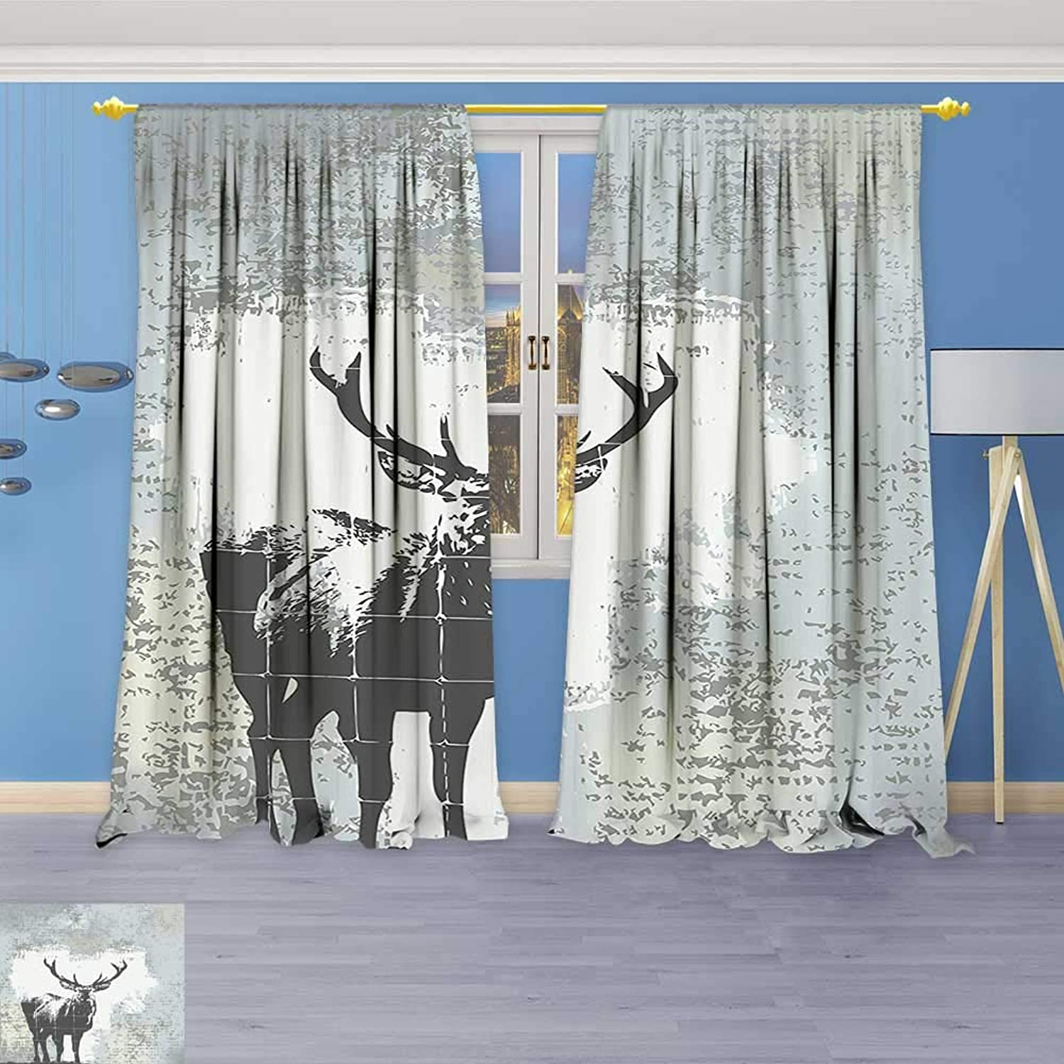 Philiphome Kids Room Planets Curtains (2 Panels),Standing Stag Silhouette Grunge Style Background Shadow Monochromic Illustration Grey Black Thermal Insulated Blackout Curtains with Star Prints
