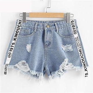 801ea33c7 Pantalones Cortos,Carta Imprimir Denim Verano Playa Pantalones Cortos  Vestido Botón Volar Cintura Media Pantalones
