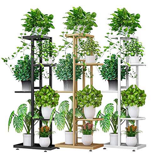 "ZZBIQS 5 Tier Metal Plant Stand Holder, Multiple Flower Pot Holder Shelves, L38"" Planter Shelf Display Rack Storage Organizer for Balcony Garden Indoor Outdoor Corner (Golden)"