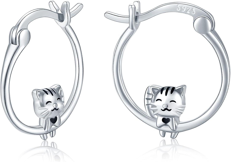 Cat Hoop Ranking TOP9 Huggie Earrings 925 Silver Sterling Award-winning store Hypoallergenic Sma