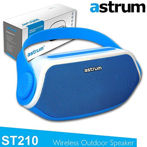 Astrum ST210 Portable Outdoor Wireless Bluetooth Speaker - HD Sound w Built-in Mic, FM Radio, Torchlight, Power Bank for Apple iPhone, iPad, Samsung, LG, Sony, Other Bluetooth Enabled Devices - Blue