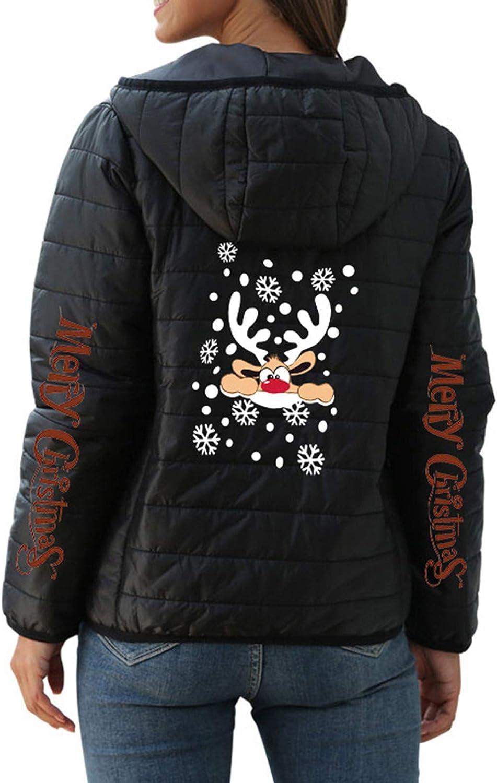 MMOOVV Weihnachten Damen Daunenjacke Übergangsjacke Daunenmantel Mit Kapuze Christmas Print Warme Winter Jacke Parka Langarm Mantel Steppjacke Winterjacke Schwarz#a