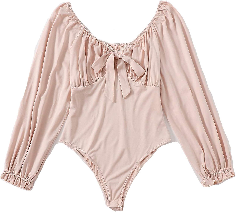 Floerns Women's Plus Size Bow Knot Sweetheart Neck Long Sleeve Bodysuit Tops