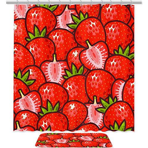 Xingruyun Frucht rote Erdbeere Duschvorhang Stoff Wasserdicht Mouldproof Badezimmer mit 12 Haken Maschinen Waschbar 180x180cm/50x80cm