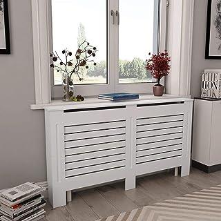 Tidyard Cache-radiateur Moderne en MDF Grille /à Barre Blanc 172 cm