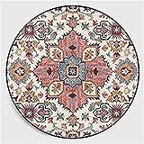 Nicole Knupfer Alfombra redonda con diseño de mandala, estilo vintage, lavable, para salón, dormitorio, baño, cocina, decoración de playa, 160 x 160 cm