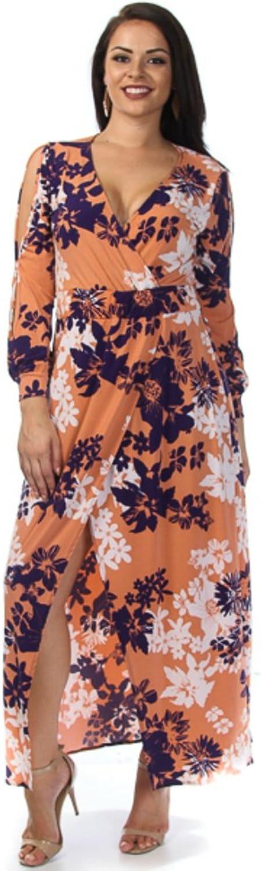All Seasons Apparel Plus Size Floral Print Slit Sleeve Overlay Maxi Dress