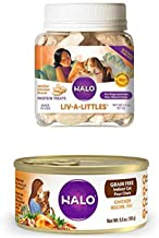 product image for Halo Liv-A-Littles Grain Free Natural Dog Treats & Cat Treats, Freeze Dried Chicken Breast, 2.2-Ounce Plus Halo Grain Free Natural Wet Cat Food, Indoor Chicken Recipe, 5.5-Ounce Can (Pack of 12)